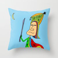 samurai Throw Pillows featuring SAMURAI by Joe Pansa