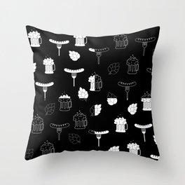 beer sausages pattern Throw Pillow