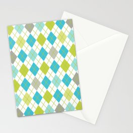 Retro 1980s Argyle Geometric Pattern in Modern Bright Colors Blue Green and Gray Stationery Cards