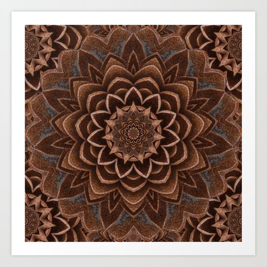 Coffee Shimmer Mandala Art Print