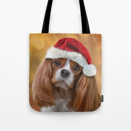 Drawing Dog breed Cavalier King Charles Spaniel  in red hat of Santa Claus Tote Bag
