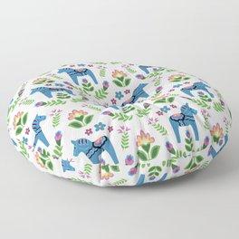 Swedsh Dala Horses Blue Floor Pillow