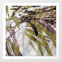 Crocosmia Shimmer in Ivory Gold Pink Art Print