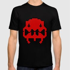 Pixel Invader : Red MEDIUM Black Mens Fitted Tee