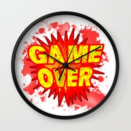 Game Over Cartoon Comic Explosion Wall Clock