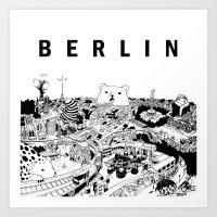 berlin Art Prints featuring Berlin by Javier Medellin Puyou aka Jilipollo