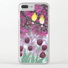 goldfinches, tulips, & flowering crabapple Clear iPhone Case