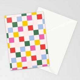 Retro Bauhaus Pattern   Abstract Shapes   Geometric Checks Stationery Cards