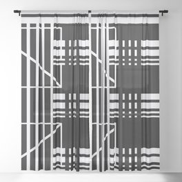 Geometry Lines Pattern, White Lines Abstract Geometry Sheer Curtain