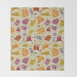 Watercolor Critter Pattern Alpha Throw Blanket
