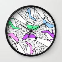heels Wall Clocks featuring Pastel Heels by Simon Falk