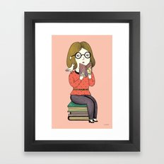 BOOKS AND BIRDS Framed Art Print