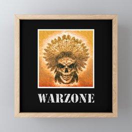 Warzone Native Indians Feather Headdress Fight War Framed Mini Art Print