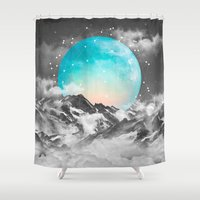 mountains Shower Curtains featuring It Seemed To Chase the Darkness Away by soaring anchor designs
