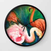 hot pink Wall Clocks featuring Hot Pink by Brigitta