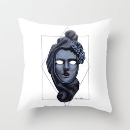Female Venetian Mask | Watercolor and Colored Pencil  Throw Pillow