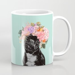 French Bulldog with Flowers Crown in Green Coffee Mug