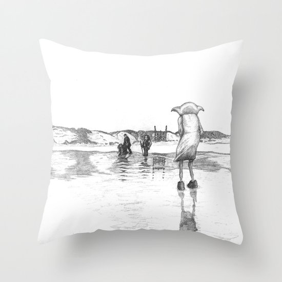 """""""Death of a Free Elf"""" - Dobby in Deathly Hallows Throw Pillow"""