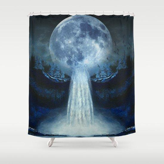waterfall moon Shower Curtain