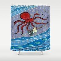 bass Shower Curtains featuring squid bass by Huiskat