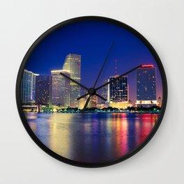Miami by Night Wall Clock