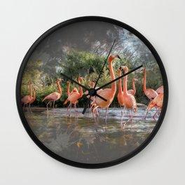 Flamingos on the lake Wall Clock