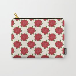 Romantic Red Roses on Cream Carry-All Pouch