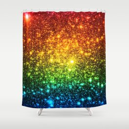 RainBoW Sparkle Stars Shower Curtain