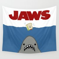 jaws Wall Tapestries featuring JAWS Movie Poster by Monkey Chow
