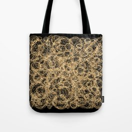 Gold Thread on Black   Abstract Brain Map 3 Tote Bag