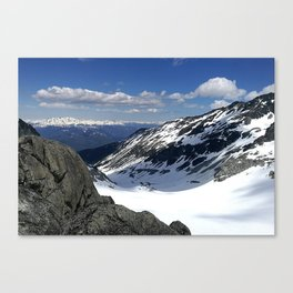 Mountains dappled with snow and rock Canvas Print