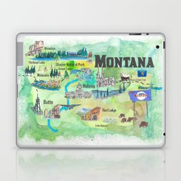 USA Montana State Illustrated Travel Poster Favorite Map Laptop & iPad Skin