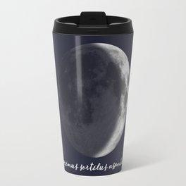 Waxing Crescent Moon on Navy Latin Travel Mug