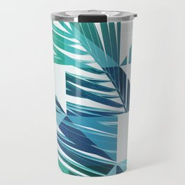 Geometric Palm Leave - blue & green Travel Mug