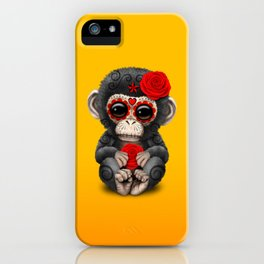 Red and Yellow Day of the Dead Sugar Skull Baby Chimp iPhone Case