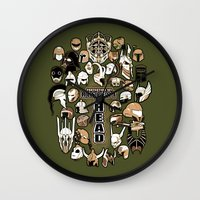 fandom Wall Clocks featuring Helmets of fandom - respect the head! by CaptainLaserBeam