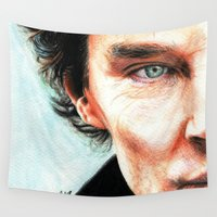benedict cumberbatch Wall Tapestries featuring Benedict Cumberbatch - Sherlock  by Cécile Pellerin