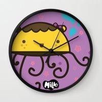 musa Wall Clocks featuring Lusa Musa© of MILK FACTORY ® by Mimi Guarnero