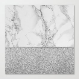 Marble + Glitter #1 Canvas Print
