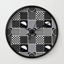 Monochrome Pattern collage   Happy New Year   black and white   Studio M & Co Wall Clock
