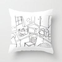 kitchen Throw Pillows featuring Kitchen by Frances Roughton