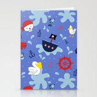 pirates Stationery Cards featuring Pirates by lindsey salles