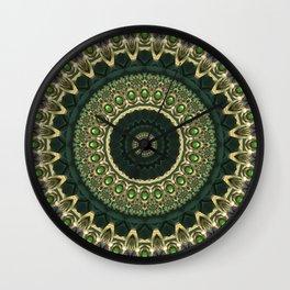 Opulent Emerald Kaleidoscope Wall Clock