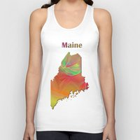 maine Tank Tops featuring Maine Map by Roger Wedegis