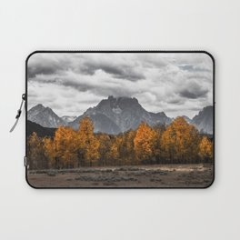 Teton Fall - Autumn Colors and Grand Tetons in Black and White Laptop Sleeve