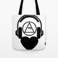 code Tote Bags featuring CODE by LoveArtMusic®