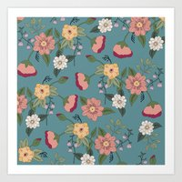 vintage floral Art Prints featuring Floral Vintage by Juliana Zimmermann