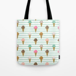 ice cream cones flavors mint stripes food fight apparel and gifts Tote Bag