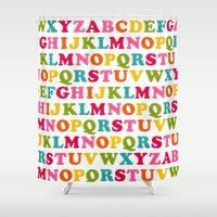 toddler Shower Curtains featuring Kiddie Alpha by Durin Eberhart