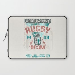 Print the emblem of college rugby team in retro style  Laptop Sleeve